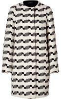 Akris Wool Blend Coat in Blackecru - Lyst
