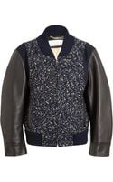 Chloé Boucle and Leather Bomber Jacket - Lyst