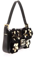 Fendi Floral Detail Baguette Bag - Lyst