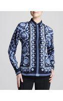 Versace Printed Silk Blouse - Lyst