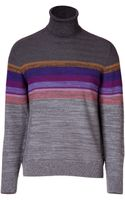 Missoni Wool Blend Variegated Knit Turtleneck Pullover - Lyst