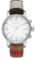 Burberry Womens Swiss House Check Fabric and Tan Leather Strap 38mm - Lyst