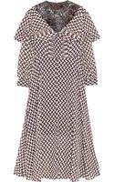 Junya Watanabe Crushed velvet and Printed Georgette Midi Dress - Lyst