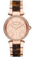 Michael Kors Womens Chronograph Parker Tortoise Acetate and Rose Goldtone Stainless Steel Bracelet 33mm - Lyst