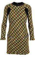 Junya Watanabe Ribbed Panel Tweed Dress - Lyst