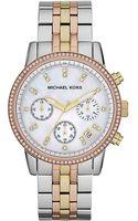 Michael Kors Ladies Ritz Tritone Chronograph Glitz Watch - Lyst