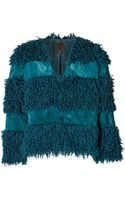 Anna Sui Faux Fur Jacket in Teal - Lyst