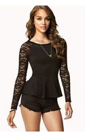 Forever 21 Lace Sleeve Peplum Top - Lyst