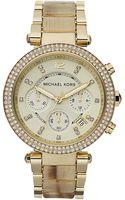 Michael Kors Parker Gold Tone Horn Glitz Watch - Lyst