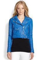 MICHAEL Michael Kors Crinkled Leather Cropped Moto Jacket - Lyst