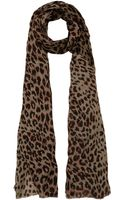 Lily and Lionel Grey Leopard Print Scarf - Lyst
