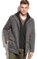 Calvin Klein Hooded Wool Blend Coat - Lyst