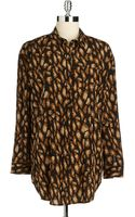 DKNY Printed Drop Shoulder Blouse - Lyst