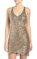 Ali Ro Ruched Vneck Sequin Dress - Lyst