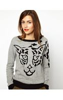 Asos Essentiel Antwerp Intarsia Knitted Sweater with Tiger Face - Lyst