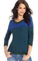 Kensie Long Sleeve Scoop Neck Polka Dot Sweater - Lyst