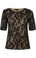 Pied A Terre Panelled Lace Tee - Lyst
