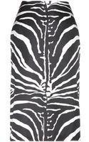 Carven Zebraprint Silkblend Skirt - Lyst
