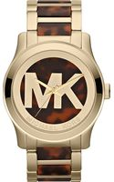 Michael Kors Runway Goldplated Watch Brown - Lyst