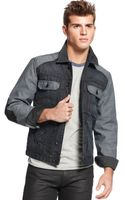Guess Jacket Elbowpatch Mixed Jean Jacket - Lyst