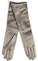 Jil Sander Leather Long Gloves in Gunmetal - Lyst