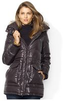 Lauren by Ralph Lauren Hooded Faux furtrim Quilted Puffer - Lyst