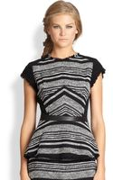Rebecca Taylor Frayed Leathertrim Tweed Peplum Top - Lyst