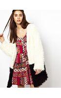 Mink Pink Colour Block Coat in Faux Fur - Lyst