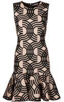David Koma Fitted Round Neck Dress - Lyst