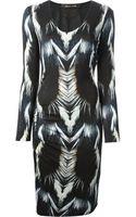 Roberto Cavalli Fur Print Fitted Dress - Lyst