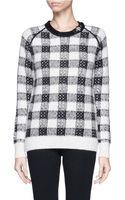 3.1 Phillip Lim Buckle Leather Strap Neckline Check Sweater - Lyst