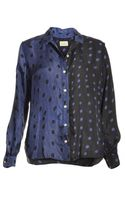 Aries Cosiminas Shirt in Navy Silk with Polka Dots By - Lyst
