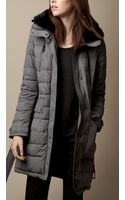 Burberry Fur Trim Belted Puffer Coat - Lyst
