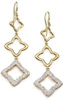 David Yurman Diamond 18k Gold Quatrefoil Drop Earrings - Lyst