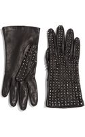 Portolano Studded Leather Gloves - Lyst