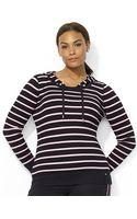Lauren by Ralph Lauren Plus Waffleknit Hooded Sweater - Lyst