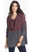 Free People Engineer Stripe Cowl Neck Pullover - Lyst