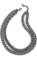 Kenneth Jay Lane Double Layer Chain Necklace - Lyst