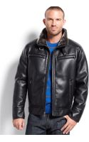 Calvin Klein Faux Leather Faux Shearlinglined Moto Jacket - Lyst
