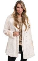 Free People Faux Fur Embellished Coat - Lyst