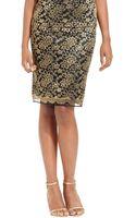 Tahari Metallic Lace Pencil Skirt - Lyst