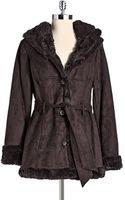 Jones New York Faux Fur Walking Coat - Lyst