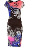 Etro Jersey Printed Cap Sleeve Dress - Lyst
