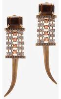 Iosselliani Brass Rhinestone Clip On Earrings - Lyst