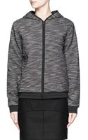 T By Alexander Wang French Terry Nylon trimmed Zip Up Hoodie - Lyst
