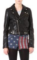 Blk Dnm Cropped Leather Biker Jacket - Lyst