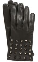 Valentino Collection Noir Black Leather Studded Gloves - Lyst