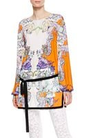 Roberto Cavalli Boatneck Floral Tunic - Lyst