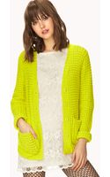 Forever 21 Waffle Knit Cardigan - Lyst
