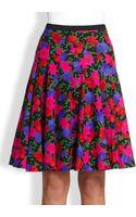Akris Punto Floralprint Wool Pleated Skirt - Lyst